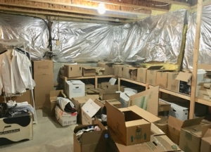 The boxes in this basement storage room had not been touched in 10 years!